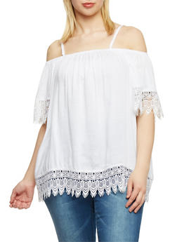 Plus Size Cold Shoulder Crochet Trimmed Top - 1803063508203