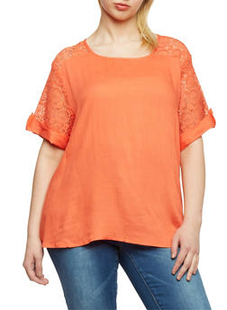 Plus Size Short Crochet Sleeve Top - 1803063508204