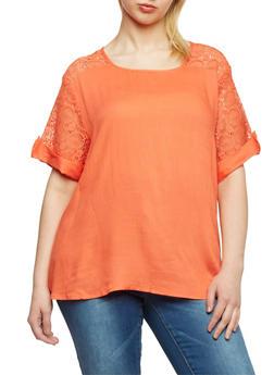 Plus Size Short Crochet Sleeve Top - 1803063508204
