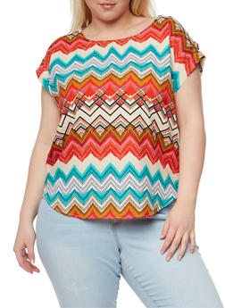 Plus Size Printed Top with Tabbed Cap Sleeves - 1803063508205