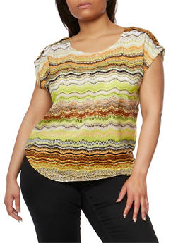 Plus Size Printed Top with Tabbed Cap Sleeves - TAUPE - 1803063508205
