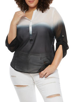 Plus Size Two Tone Blouse - 1803063508902