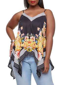 Plus Size Printed Sharkbite Hem Top - 1803063508903