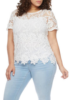 Plus Size Crochet T Shirt - 1803064469185