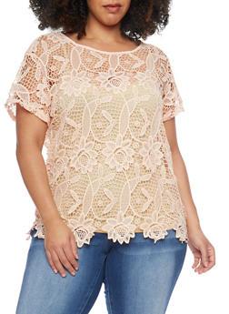 Plus Size Crochet T Shirt - 1803064469185