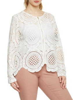Plus Size Long Sleeve Crochet Zip Up Blazer - WHITE - 1803064469365