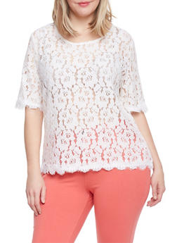Plus Size Crochet Top with Zip Back - 1803064469585