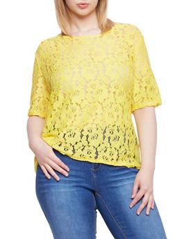 Plus Size Crochet Top with Zip Back - 1803064469585