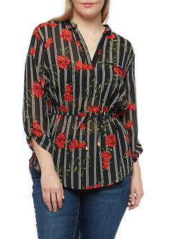 Plus Size Striped Floral Blouse - 1803068700004