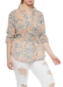 Plus Size Floral Print Chiffon Top with Cinched Tie Waist - 1803068700028
