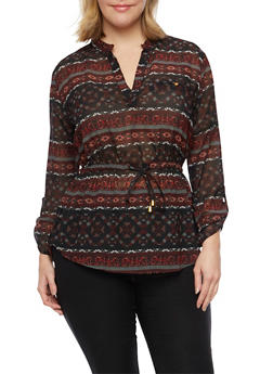 Plus Size Mandarin Collar Top with Aztec Print - 1803068700164