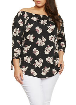 Plus Size Floral Off The Shoulder Peasant Top with Tie Sleeves - 1803068700173