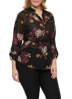 Plus Size Floral Top with Drawstring Waist - 1803068700578