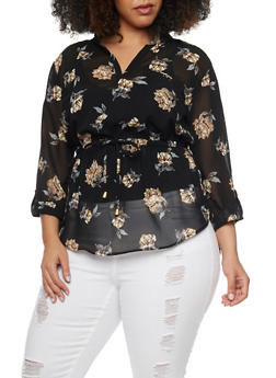 Plus Size Sheer Floral Mandarin Top - 1803068700715