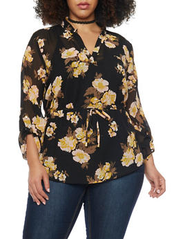 Plus Size Sheer Belted Floral Blouse - 1803068700745