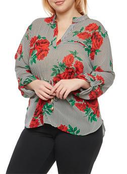 Plus Size Striped Rose Print Blouse - 1803068700938