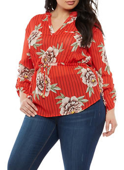 Plus Size Striped Floral Cinched Waist Blouse - 1803068701103