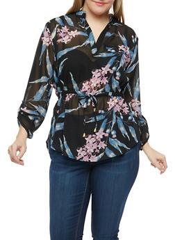 Plus Size Floral Drawstring Waist Shirt - 1803068701104