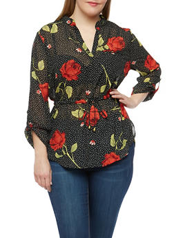 Plus Size Rose Print Drawstring Waist Blouse - 1803068701105