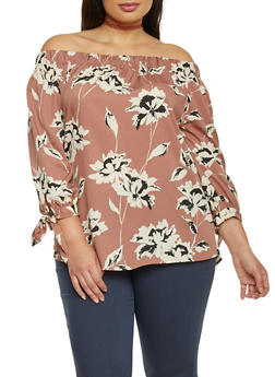 Plus Size Floral Off The Shoulder Peasant Top with Tie Sleeves - 1803068701370