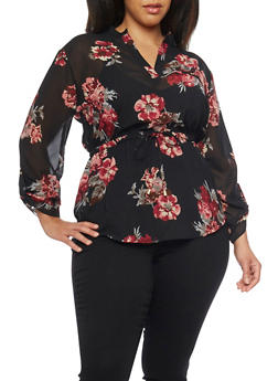 Plus Size Long Sleeve Sheer Floral Blouse - 1803068701543