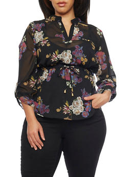 Plus Size Floral Print Top with Cinched Tie Waist - 1803068701578