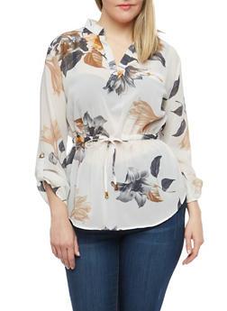 Plus Size Floral Drawstring Waist Shirt - 1803068704292