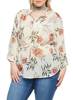 Plus Size Long Sleeve Sheer Floral Blouse - 1803068706411