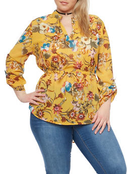 Plus Size Multicolored Floral Sheer High Low Top with Rolled Cuffs - 1803068706412