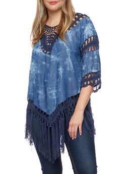 Plus Size Chambray Top with Crochet Panels - 1803073352250