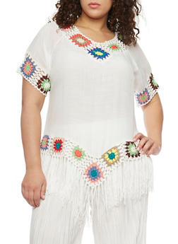 Plus Size Short Sleeve Top with Crochet and Fringe Trim - 1803073358901