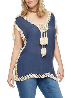 Plus Size Crochet and Tassel Trim Sleeveless Blouse - 1803073358936