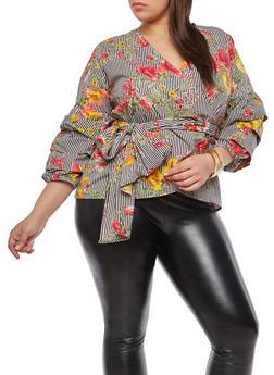 Plus Size Stripe Floral Wrap Top - 1803074010028
