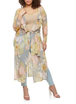 Plus Size Floral Mesh Flyaway Duster - 1803074012533