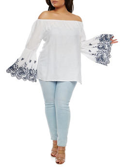 Plus Size Embroidered Sleeve Off the Shoulder Top - 1803074015081
