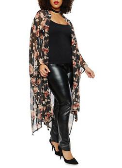 Plus Size Rose Print Mesh Kimono - 1803074015182