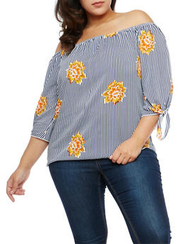 Plus Size Floral Stripe Off the Shoulder Top - 1803074015191
