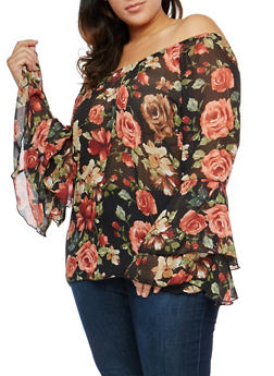 Plus Size Sheer Floral Off the Shoulder Top - 1803074015192