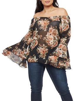 Plus Size Sheer Floral Off the Shoulder Top - 1803074015192