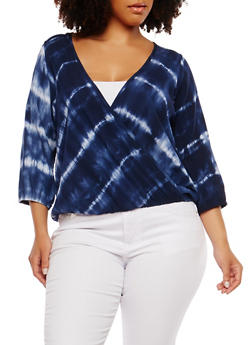 Plus Size Tie Dye Faux Wrap Top - 1803074015260