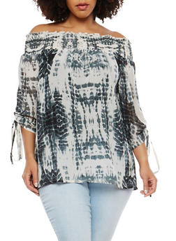 Plus Size Sheer Printed Off the Shoulder Top - 1803074181511