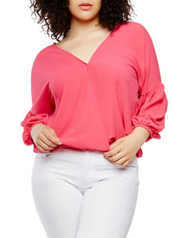Plus Size Caged Back Bubble Sleeve Top - 1803074280153