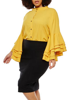 Plus Size Crepe Knit Bell Sleeve Top - 1803074280304