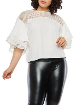 Plus Size Tiered Sleeve Mesh Yoke Top - 1803074280606