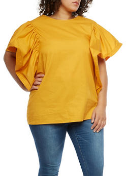 Plus Size Wired Bell Sleeve Tunic Top - 1803074280607