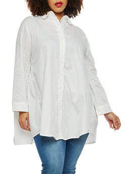 Plus Size Pleated Back Button Front Shirt - 1803074280608