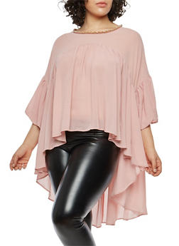 Plus Size Beaded High Low Balloon Sleeve Top - 1803074280609