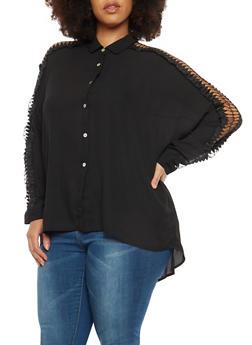 Plus Size Crochet Sleeve Button Front Top - 1803074280610