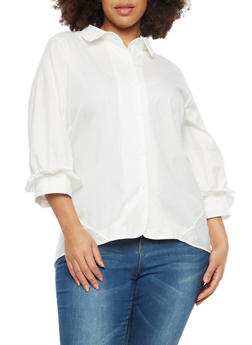 Plus Size High Low Button Front Shirt - 1803074280612