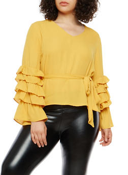 Plus Size Tiered Sleeve Tie Waist Top - 1803074280622